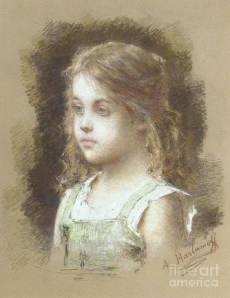 Painting - Young Girl In A Green Tunic by Celestial Images