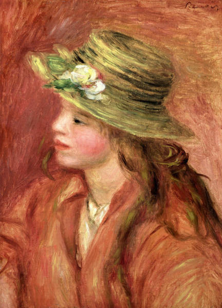 Wall Art - Painting - Young Girl In A Straw Hat by Pierre Auguste Renoir