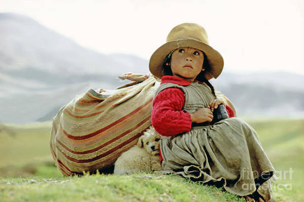 Puppies Photograph - Young Girl In Peru by  Victor Englebert