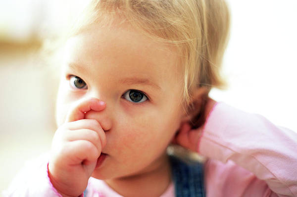 Wall Art - Photograph - Young Girl Sucking Thumb by Ian Hooton/science Photo Library