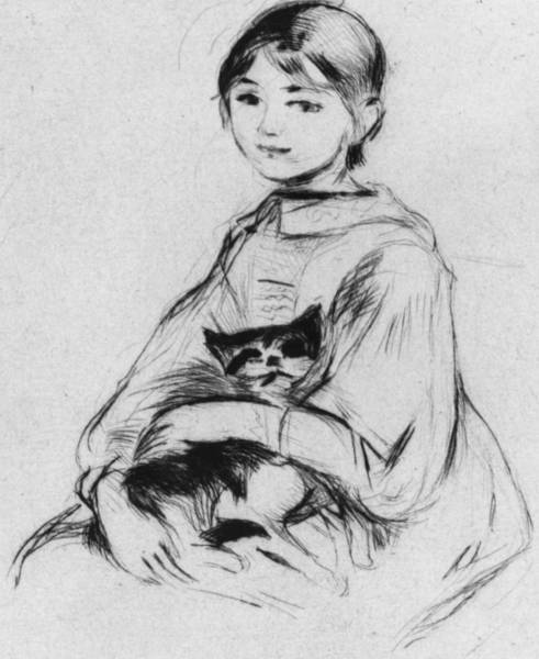 Sweet Drawing - Young Girl With Cat by Berthe Morisot