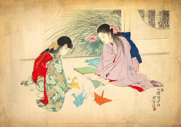 Wall Paper Painting - Young Girls Making Paper Cranes by Celestial Images