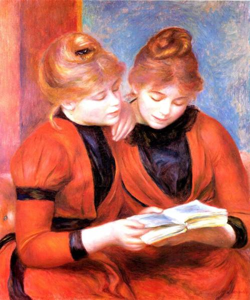 Digital Art - Young Girls Reading by Pierre-Auguste Renoir