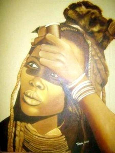 Painting - Young Himba Girl - Original Artwork by Tracey Armstrong