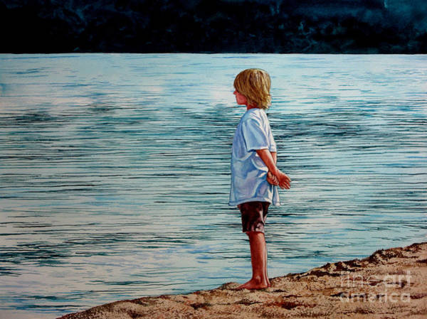 Young Lad By The Shore Art Print