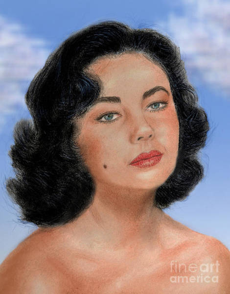 Freckle Drawing - Young Liz Taylor Portrait Remake Version II by Jim Fitzpatrick