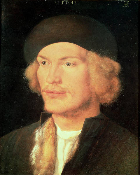 Moustaches Photograph - Young Man, 1507 Oil On Panel by Albrecht D�rer or Duerer