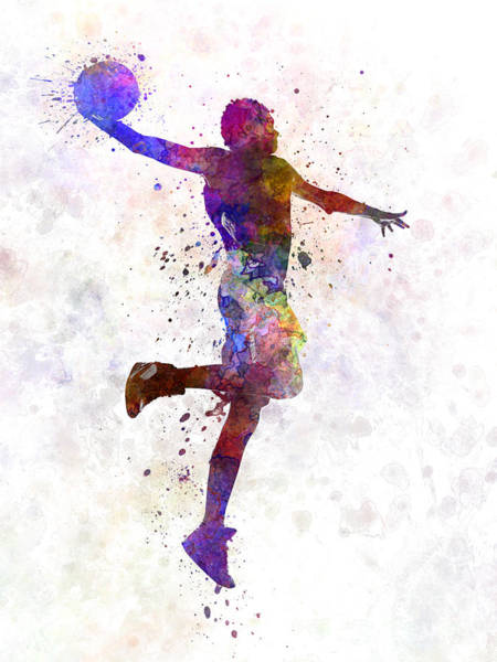 African American Painting - Young Man Basketball Player One Hand Slam Dunk by Pablo Romero