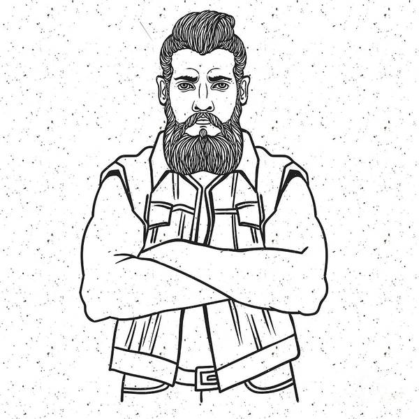 Young Man Bearded Biker. Hand Drawing Art Print