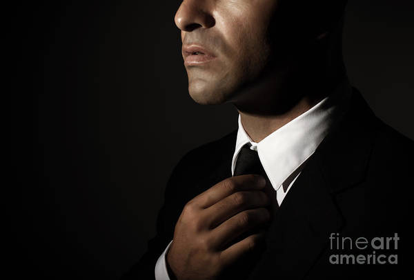 Supermodel Wall Art - Photograph - Young Man Fixed Tie by Anna Om