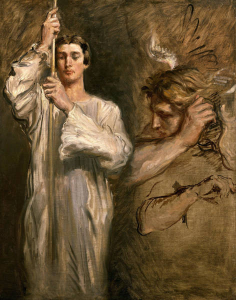 Guardian-angel Photograph - Young Man Holding A Cross  by Theodore Chasseriau