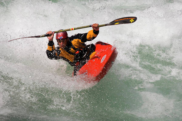Plunge Photograph - Young Man River Kayaking by Henry Georgi