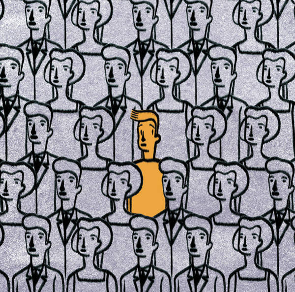 Faces In The Crowd Wall Art - Photograph - Young Man Standing Out From The Crowd by Ikon Ikon Images