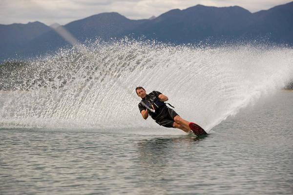 Wall Art - Photograph - Young Man Waterskiing On Lake Koocanusa by Henry Georgi