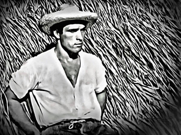 Digital Art - Young Man With Straw Hat by Joan Reese