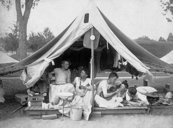 Camping Wall Art - Photograph - Young Men On A Camp Out by Pach Bros.