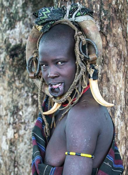 Indigenous People Wall Art - Photograph - Young Mursi Girl Without Lip Plate by Peter J. Raymond