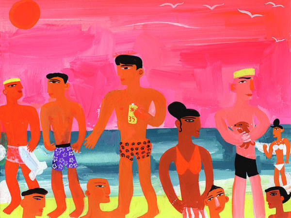 Lifestyles Digital Art - Young People At Bright Color Beach by Christopher Corr