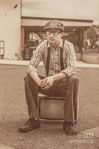 Broadcast Photograph - Young Vintage Man Seated On Old Tv by Jorgo Photography - Wall Art Gallery