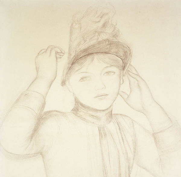 Close Up Drawing - Young Woman Arranging Her Hat by Pierre Auguste Renoir
