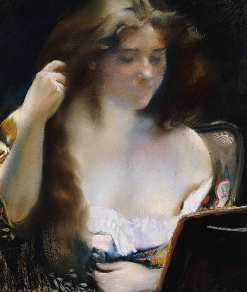 Intimate Portrait Wall Art - Pastel - Young Woman At Her Toilet by Paul Albert Besnard