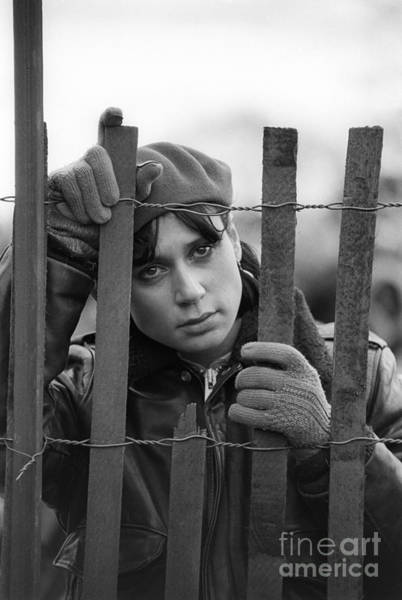 Photograph - Young Woman Behind Fence by Jim West