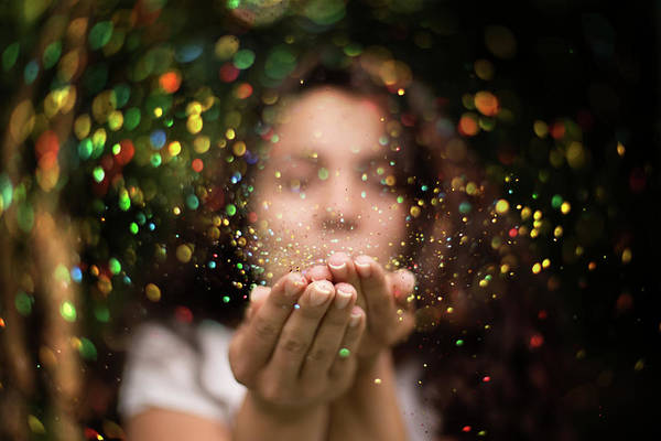 Brocade Photograph - Young Woman Blows Glitter Into The Air by Stefka Pavlova
