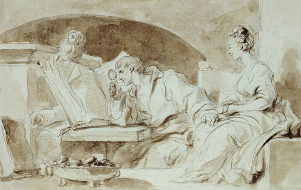 Wall Art - Drawing - Young Woman Consulting A Necromancer by Jean-Honore Fragonard