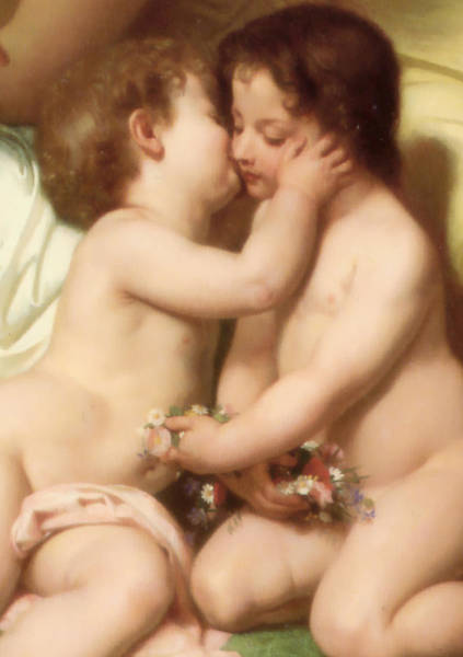 Digital Art - Young Woman Contemplating Two Embracing Children Detail II by William Bouguereau