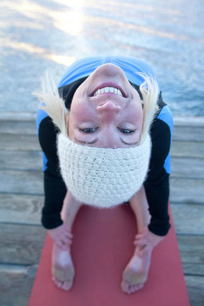 Wall Art - Photograph - Young Woman Doing Yoga On Pier In Tahoe by Justin Bailie