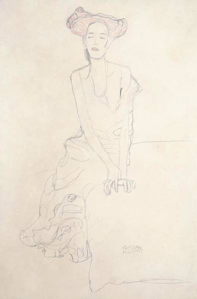 Skinny Drawing - Young Woman by Gustav Klimt