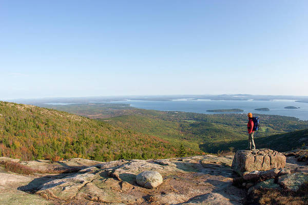 Wall Art - Photograph - Young Woman Hiking On Cadillac Mountain by Justin Bailie