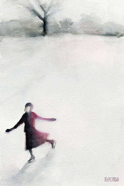 Gray Wall Art - Painting - Young Woman Ice Skating Watercolor Painting by Beverly Brown