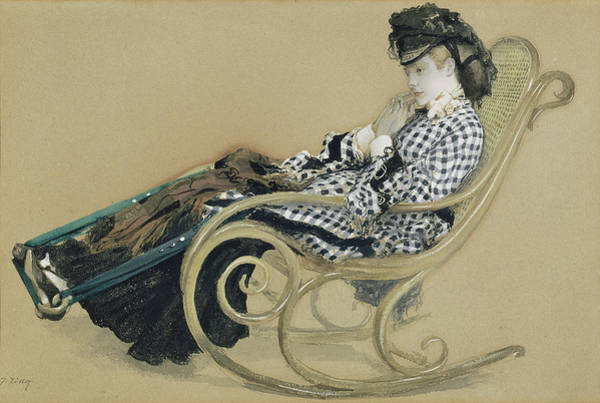 Rocking Chairs Painting - Young Woman In A Rocking Chair, Study For The Painting by Litz Collection
