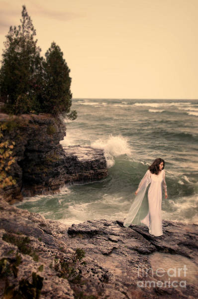 Wall Art - Photograph - Young Woman In Nightdress By The Sea by Jill Battaglia