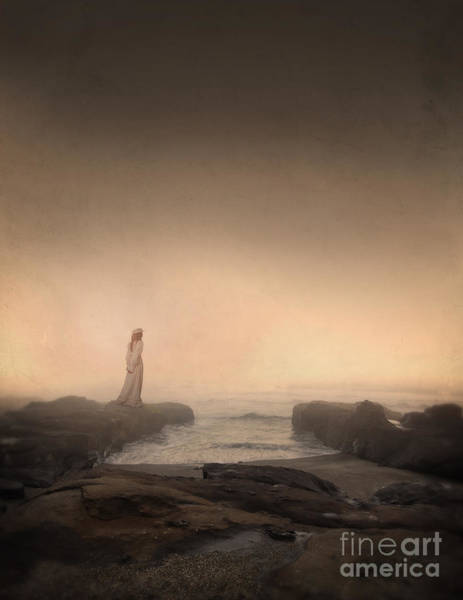 Wall Art - Photograph - Young Woman In Vintage Dress By The Sea by Jill Battaglia