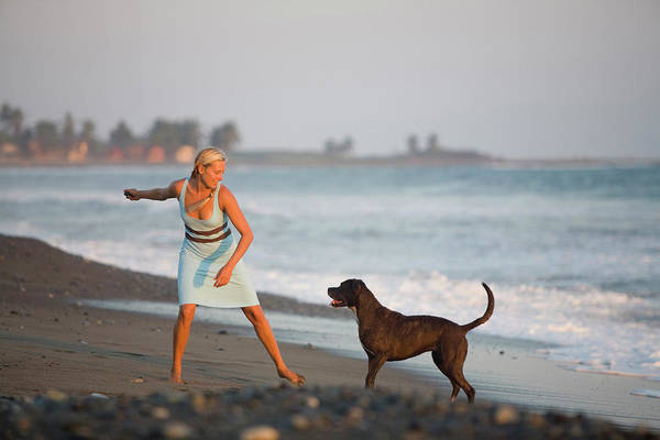 Wall Art - Photograph - Young Woman Playing With Her Dog by Justin Bailie
