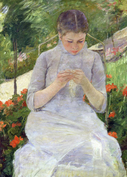 Painting - Young Woman Sewing In The Garden by Mary Cassatt