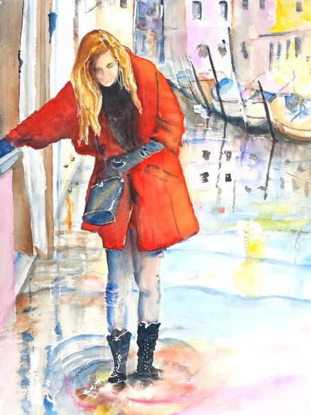 Waterway Painting - Young Woman Walking Along Venice Italy Canal by Carlin Blahnik CarlinArtWatercolor