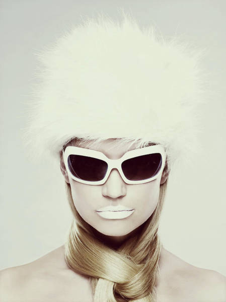 Kitsch Photograph - Young Woman Wearing White Sunglasses by Image Source