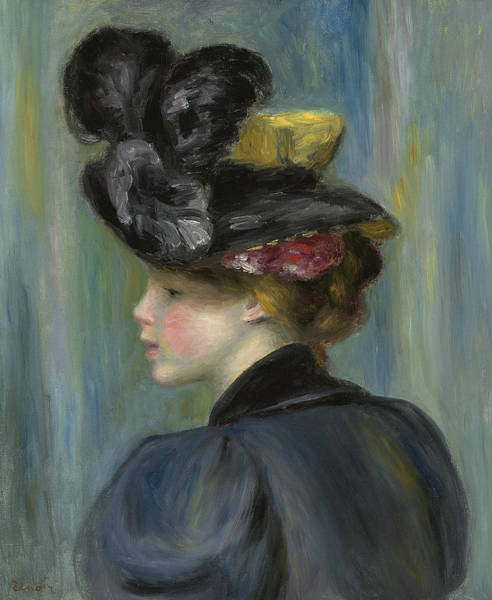 Wall Art - Painting - Young Woman With Black Hat by Pierre Auguste Renoir