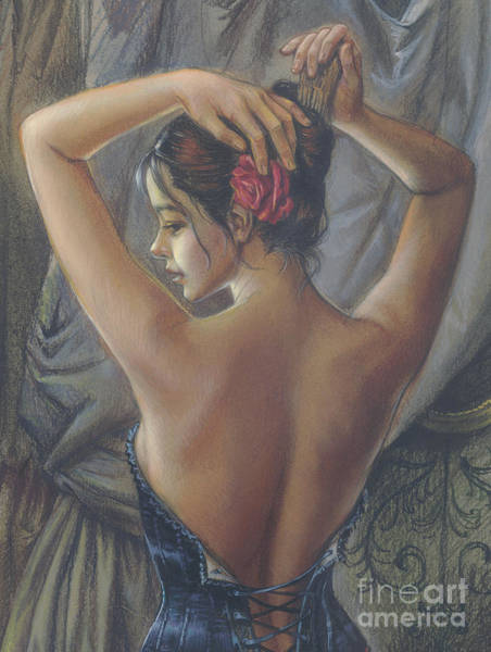 Curtain Digital Art - Young Woman With Luth Crop by MGL Meiklejohn Graphics Licensing