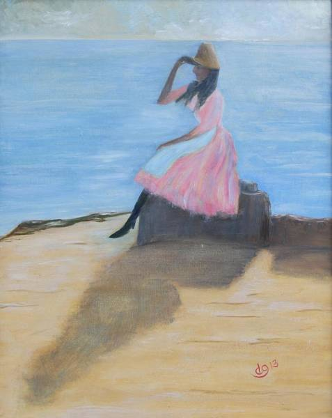 Painting - Young Women On The Beach by DG Ewing
