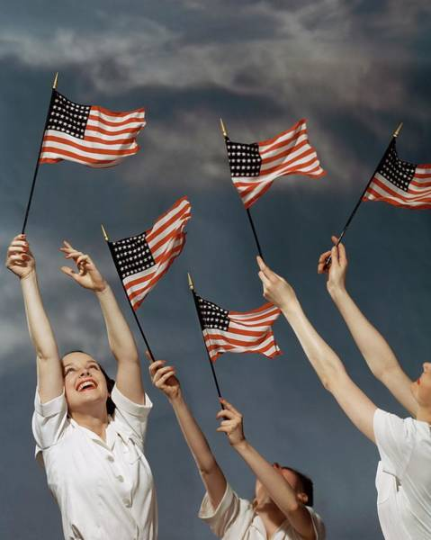 Wave Photograph - Young Women Waving American Flags by Roger Kahan