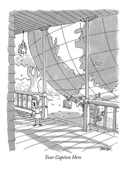 Globe Drawing - 'your Caption Here' by Jack Ziegler