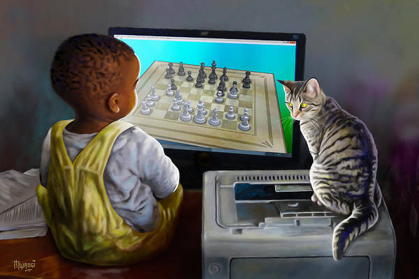 Kitten Play Wall Art - Painting - Your Move by Anthony Mwangi