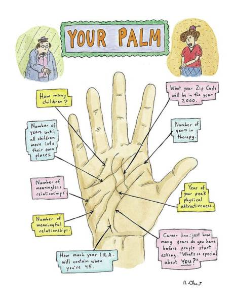 Fortune Teller Drawing - Your Palm by Roz Chast