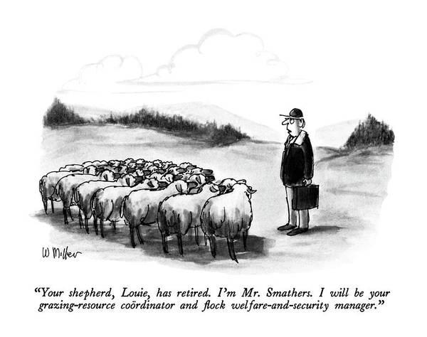 Herd Drawing - Your Shepherd by Warren Miller