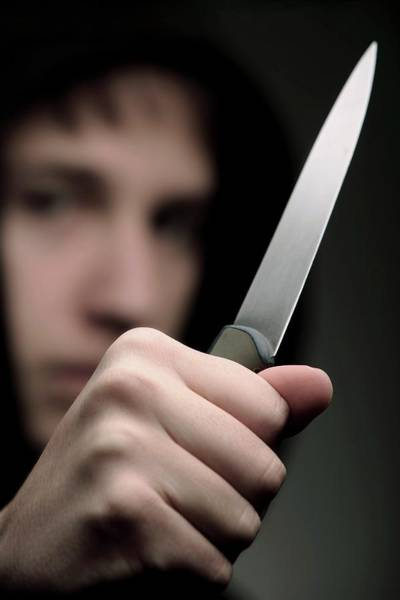 Threatened Photograph - Youth Knife Crime by Mauro Fermariello/science Photo Library