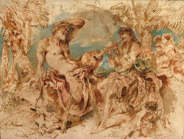 Amuse Drawing - Youth Playing A Pipe For A Satyr by Giovanni Benedetto Castiglione